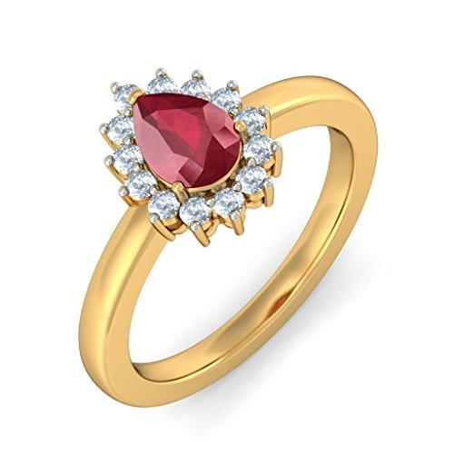 Or jaune 18K, 0,23carat Diamant Blanc (IJ | SI) Rubis et diamant Bague