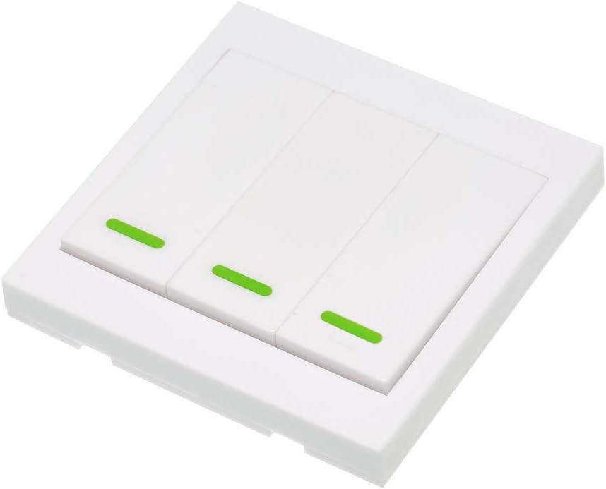 KKmoon 5 piezas eWeLink Interruptor de bot/ón de pared Interruptor a distancia 3 Gang 86 Tipo ON//OFF Panel interruptores 433 MHz RF Mando a distancia sin cables con adhesivos Posici/ón libre flexible PE