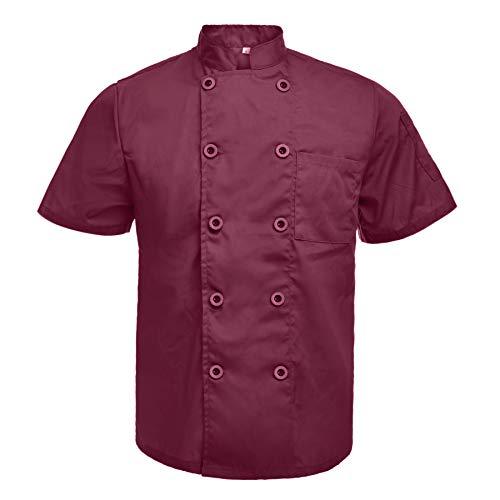 (TOPTIE Unisex Short Sleeve Chef Coat Jacket,)