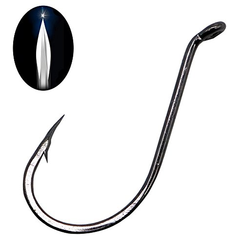 Black Octopus Fishing Hook 100pcs Knife Edge Point Beak Hooks with Strong Forged Shank Up-eye Reversed-bend point Offset Circle Hook by SHADDOCK Fishing (Knife Edge Point Octopus Hooks, 100pcs 4/0) (4 Octopus Hook)