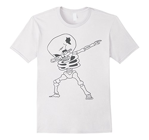 Ghostly Gent Child Costume (Mens Spooky Dabbing kids Skeleton Costume Halloween T-shirt XL White)