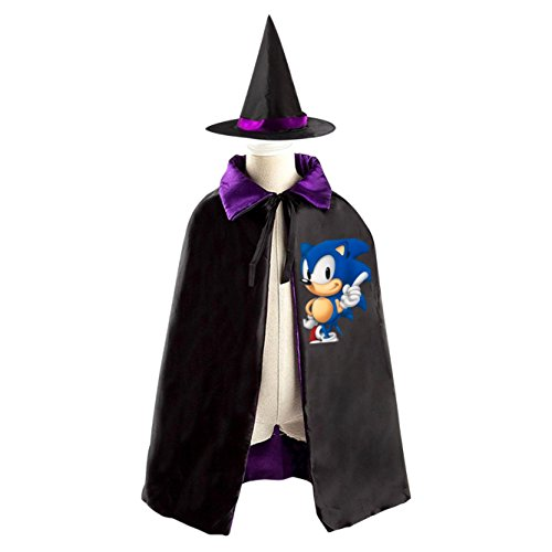 [Sonic Kids Childrens' Halloween Costume Cloak Cape Robe Wizard Hat] (Sonic Halloween Costumes 1)