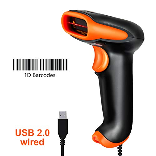 Tera Barcode Scanner USB Wired Handheld Bar Code Scanner Reader Laser 1D Barcode Reader Plug and Play