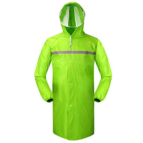 XJRHB Long Raincoat Outdoor Thickening Windbreaker Poncho, Suitable for Camping/Hiking/Travel/Sports, Multi-Color Optional (Color : Fluorescent Green, Size : XL) by XJRHB