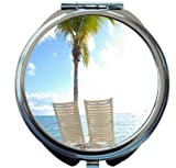 Rikki Knight White Sun Chairs in Water Palm Tree Design Round Compact Mirror