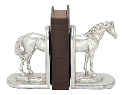 Deco 79 76790 Polystone Silver Horse Bookend (Standing Horse Bookends)
