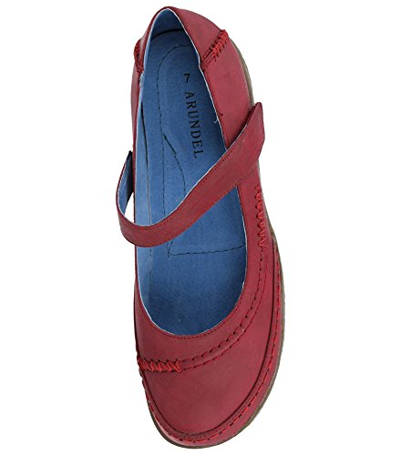 Foster Footwear Ladies Faux Leather Mary Jane Casual Flat Loafer Sandals Shoes Size 4-9 Ruby Red gvK2gJF