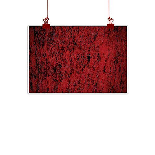 Boston Standard Sham - Wall Art Painting Print Red and Black Pillow Sham,Artistic Abstract Pattern with Grungy Distressed Look and in Vintage Style,Decorative Standard Printed Pillowcase,36 X 20 Inches,Red Black 36