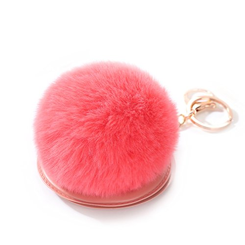 Youngate Mini Lovely Mirror Soft Plush Ball Keychain Handbag Purse Pendant Charms (Height(5.91