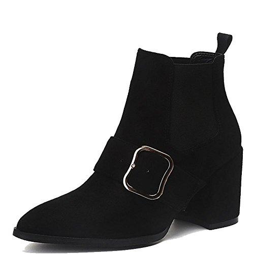 wdjjjnnnv Las mujeres corto botas de zapatos de tacón alto piel gruesa cálido elástica hebilla zapatos de tobillo, BROWN-36 BLACK-37