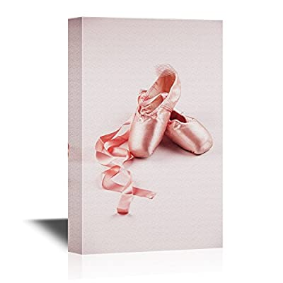 Canvas Wall Art - The Shoes of Ballet Dancers - Gallery Wrap Modern Home Art   Ready to Hang - 12x18 inches
