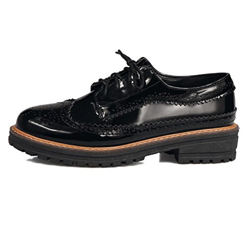 Zanpa Zapatos Oxford Clasico School Black Mujer Shoes r1wrEPHxnq