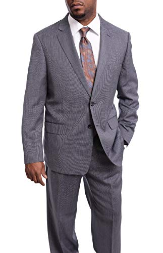 (Steven Land Classic Fit Textured Purple Two Button Super 150s Wool Suit)