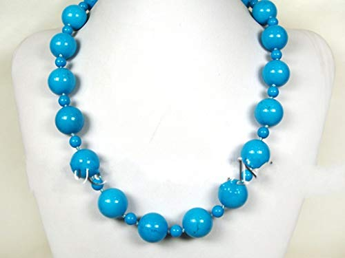 (JYX Turquoise Necklace 20&8.5mm Vibrant Blue Round Turquoise Necklace AAA Handmade Gemstone Beads Necklace 32