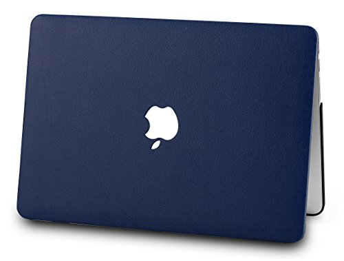 "KECC Laptop Case for MacBook Air 13"" w/Keyboard Cover Italian Leather Case + Webcam Cover A1466/A1369 3 in 1 Bundle (Dark Blue Leather)"