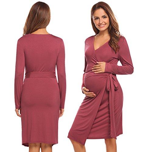 INZOE damen casual langarm nachthemden für Schwangerschaft und Stillzei