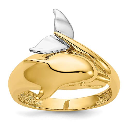 (Roy Rose Jewelry 14K Two-Tone Gold Polished Dolphin Ring ~ Size 7.5)