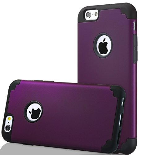 iPhone 6s Case,iPhone 6 Case,by Ailun,Soft Interior Silicone Bumper&Hard Shell Solid PC Back,Shock-Absorption&Skid-proof,Anti-Scratch Hybrid Dual-Layer Slim Cover[Purple]