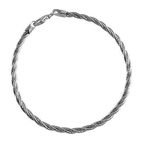 Verona Jewelers 925 Sterling Silver Diamond Cut Flexible Italian Spring Omega Braided Sparkle Necklace- Twisted Omega Rope Chain Chain Necklace, 3MM Silver Necklace (Rhodium, 18) -