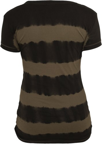 Ladies Dip Dye Stripe Tee d.gry/olive S