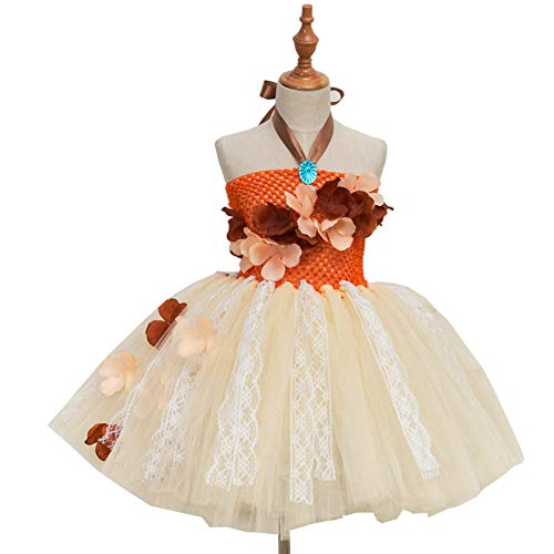 Princess Moana Tutu Dress for Girls Birthday Party Children Lace Tulle Flower Girl Dress Kids Halloween Cosplay Costume(6-7Y, Moana) -