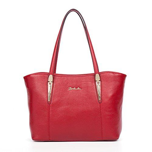 BOSTANTEN Handtaschen Damen Leder Umhängetasche Schultertasche Shopper Tasche Rot Rot rQ30H6
