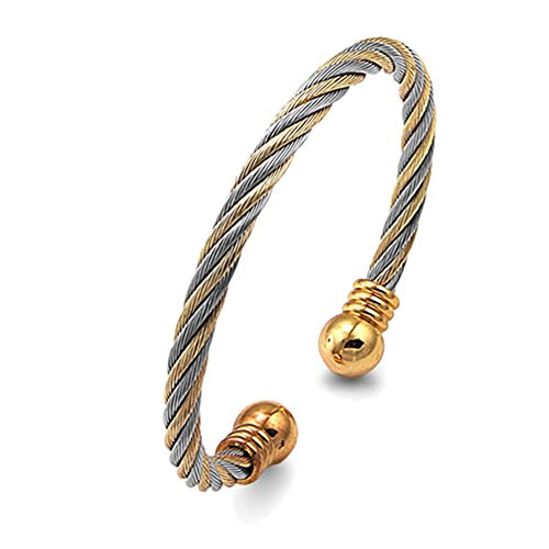 Double Accent 5MM Stainless Surgical Steel Twist Cable Magnet Bangle Cuff Bracelet