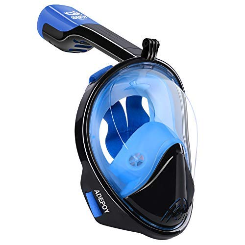 adepoy Full Face Snorkel Mask, Snorkeling Mask for Adults and Kids with Detachable Camera Mount, 180 Degree Large View Dry Top Set Anti-Fog Anti-Leak Blue-Black S/M
