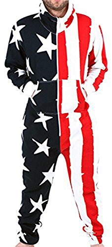 SKYLINEWEARS Men's Fashion Onesie Hooded Jumpsuit One Piece Non Footed Pajamas UsFull RedBlue XXL]()