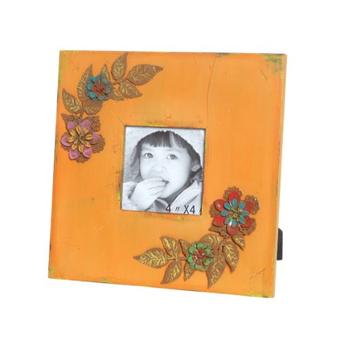 Wilco Imports Distressed Orange Wooden Frame with Metal Floral Accents, 9-3/4-Inch By 0-1/2-Inch By - Wilco Frames