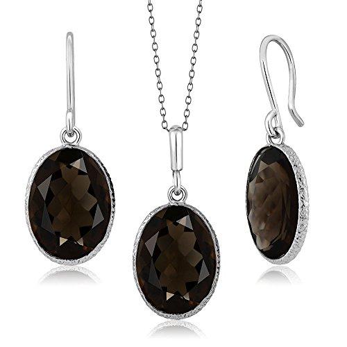 Gem Stone King 15.00 Ct Smokey Quartz 10x14 Oval Sterling Silver Pendant Earrings Set 18inches Chain