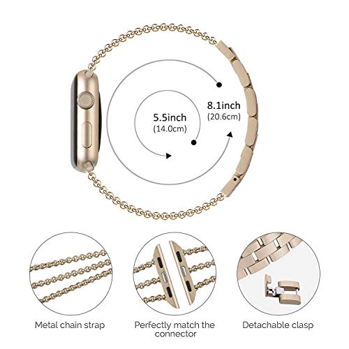 Biaoge Metal Band Compatible for Apple Watch Band Series 4 40mm 44mm/  iWatch Series 3 2 1 38mm 42mm, Adjustable Stainless Steel Replacement  Wristband