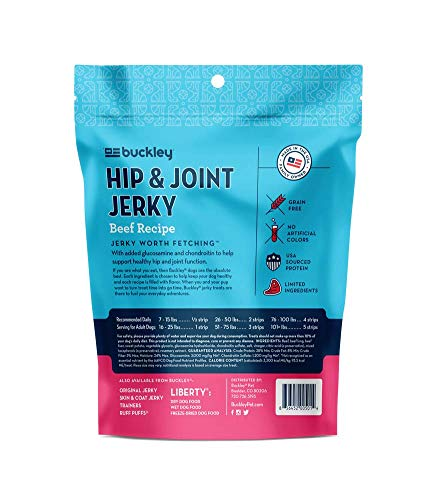 Buckley Functional Healthy Hip And Joint Dog Jerky Treats, Beef Recipe, 5 Ounce