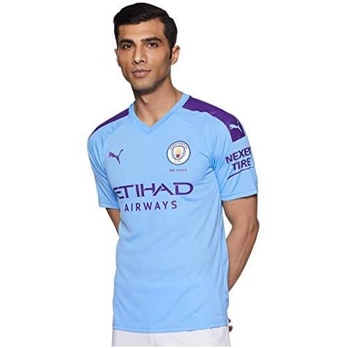 chollos oferta descuentos barato Puma Men s MCFC HOME Shirt Replica SS with Sponsor Logo Jersey Team Light Blue Tillandsia Purple XL