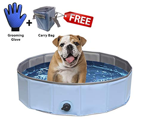 Dog Pool Pet Wading - Foldable Collapsible Portable Small Doggie Pools Bathing Tub Bath Kiddie Pool for Dogs Cats Kids Kiddy Hard Plastic Doggy Swimming Whelping Box Bonus Grooming Glove Non Leak Pool