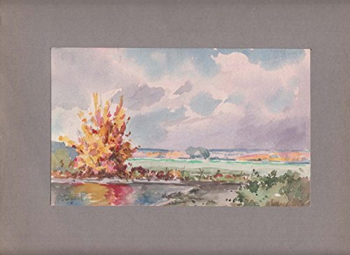 Arthur S Douglas original watercolor Fall view along