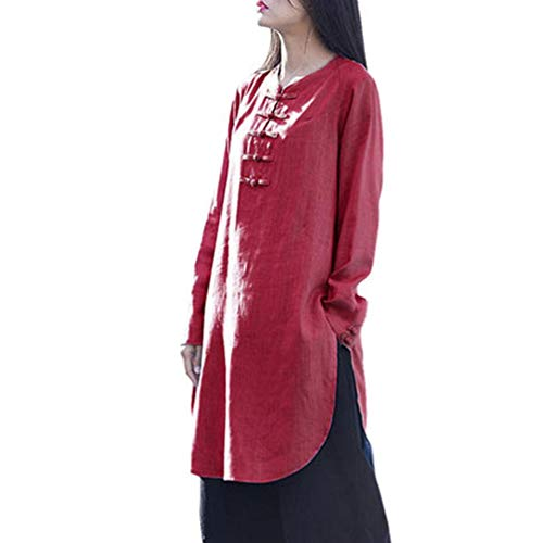 (Chiffon Button Down Tops, Duseedik Women Plus Size Bohemia Casual Solid Button Half Sleeve Cotton Linen Dress Wine Red)