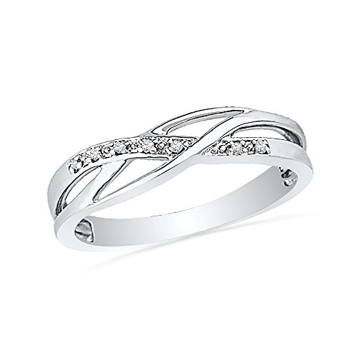 Sterling Silver Round Diamond Fashion Ring (1/20 cttw)- Size - Gold White Four Pave