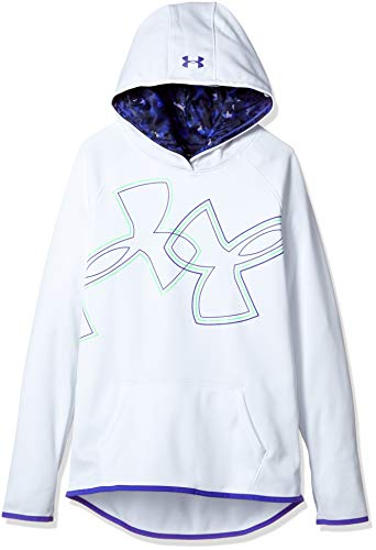 - Under Armour Girls Armour Fleece Dual Logo Hoodie, White (101), Youth X-Large