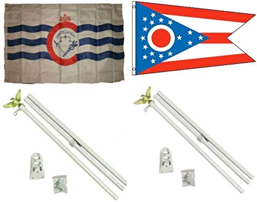 ALBATROS 3 ft x 5 ft City of Cincinnati with State of Ohio Flag with 2 White with Pole Kit Sets for Home and Parades, Official Party, All Weather Indoors Outdoors