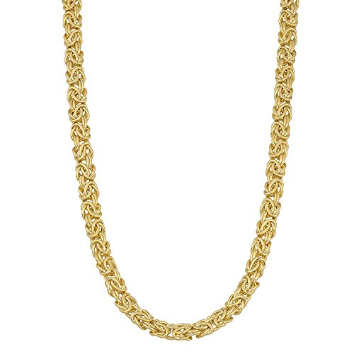 MCS Jewelry 14 Karat Yellow Gold Byzantine Necklace 6mm (Length:18