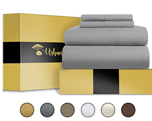 Urban Hut Egyptian Cotton Sheets Set (4 Piece) 800 Thread Count - Bedspread Deep Pocket Premium Bedding Set, Luxury Bed Sheets for Hotel Collection Soft Sateen Weave (California King, Silver Grey) by URBANHUT (Image #5)