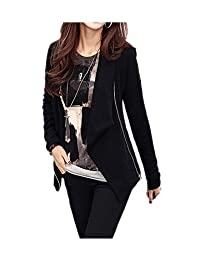 ARJOSA women's Zip Up Elasticity Sleeve Pockets Irregular Hem Slim Fit Blazer Jacket