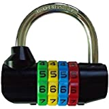 "Bosvision 2.5 inches width 4-digit Resettable Combination Padlock with 5/16"" Shackle for Gate, Lodge, Locker, Luggage..."