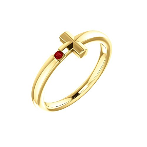 14k Yellow Gold Ruby Youth Cross Ring - Size 3 by Bonyak Jewelry
