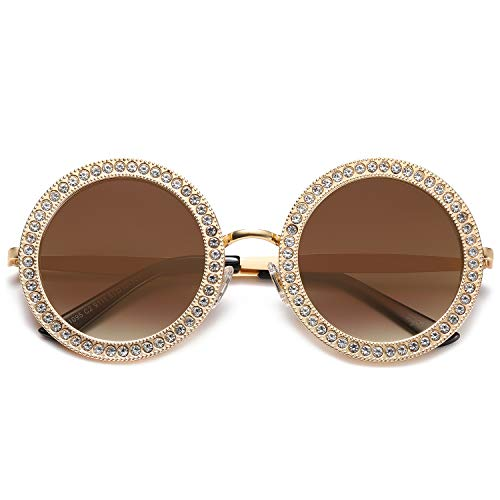 Unique 70s Costume Ideas (SOJOS Round Oversized Rhinestone Sunglasses for Women Festival Sunglasses SJ1095 with Gold Frame/Gradient Brown Lens with White)