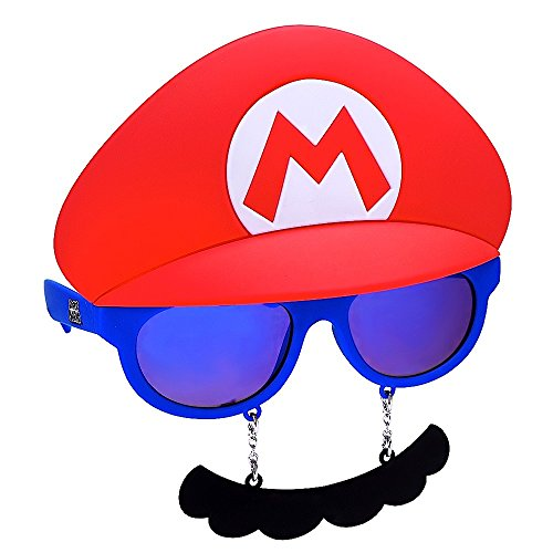 Costume Sunglasses Nintendo Mario Mustache Sun-Staches Party Favors UV400]()