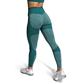 MOYOOGA Seamless Workout Leggings for Women High Waisted Leggings for Yoga Gym Sports (Medium, Forest Green)