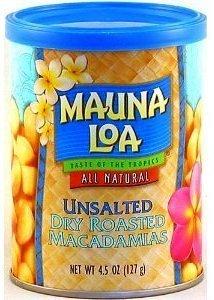 Mauna Loa Dry Roasted Macadamia Nuts Unsalted 6 Cans with Bonus Hawaiian Tropical Tea by Mauna Loa
