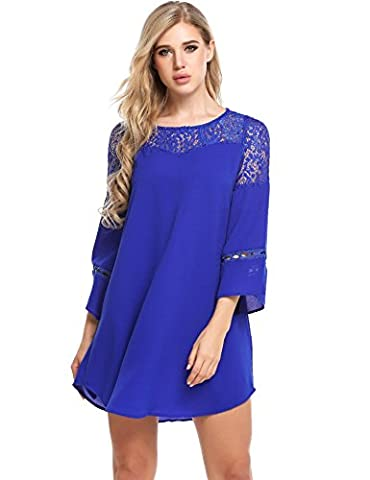 Opino O Neck 3/8 Sleeve Lace Patchwork Hollow Out Loose Casual Chiffon Dress Blue/XL - Holiday Stretch Lace Dress